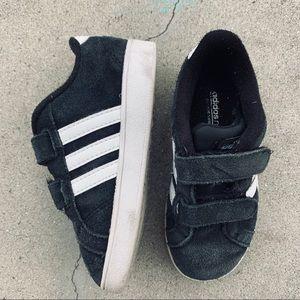 ADIDAS black white Velcro strap suede sneaker